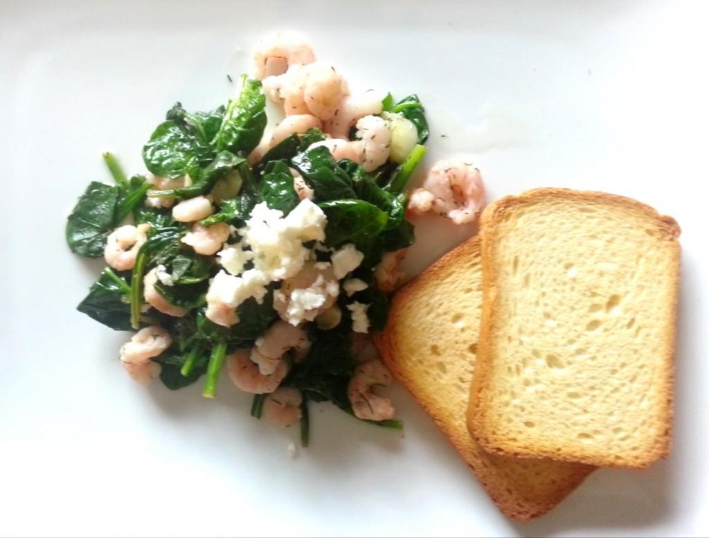 Warm Spinach and Shrimp Salad