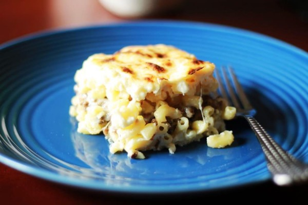 Slice of Bechamel Mac and Cheese to be served