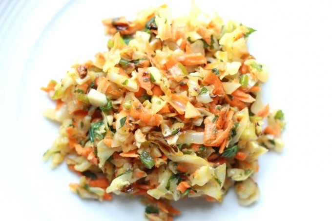 Serving of Cabbage Slaw on a plate