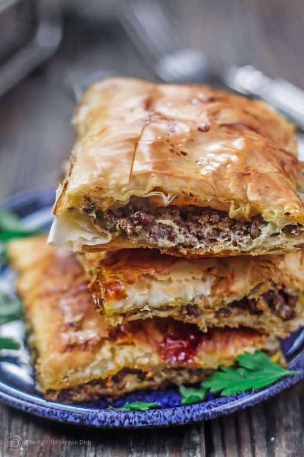 Close-up of Phyllo Meat Pie with very flaky crust