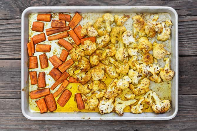 Cauliflower and Carrots in a pan after being roasted
