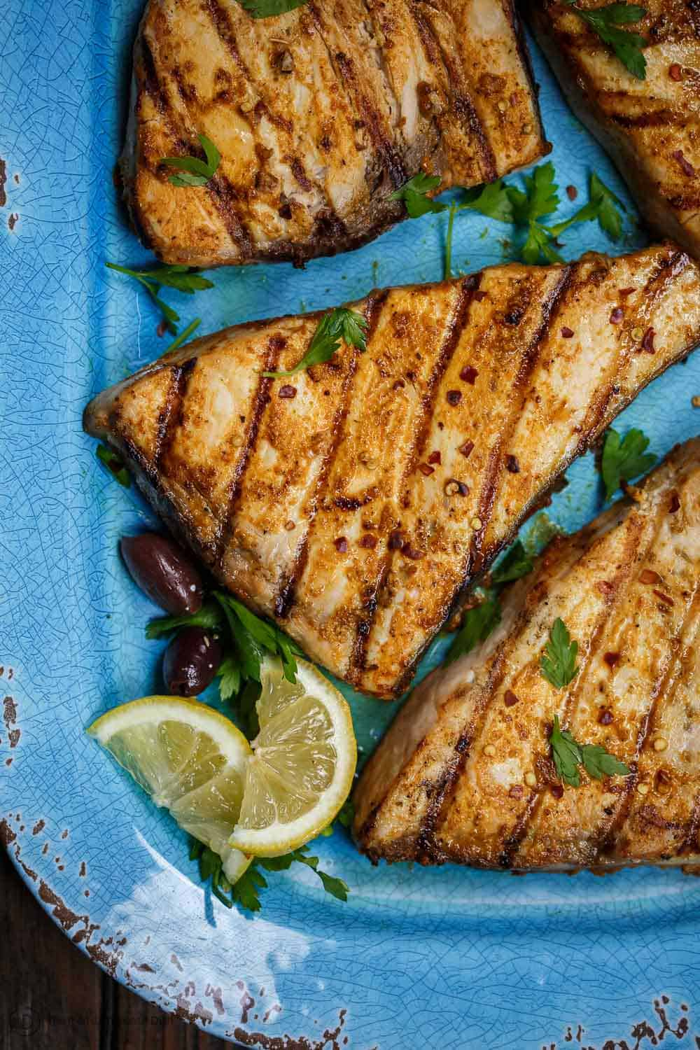 Grilled Swordfish served with lemon wedge