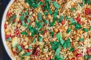 Mediterranean Orzo Recipe with Zucchini and Chickpeas