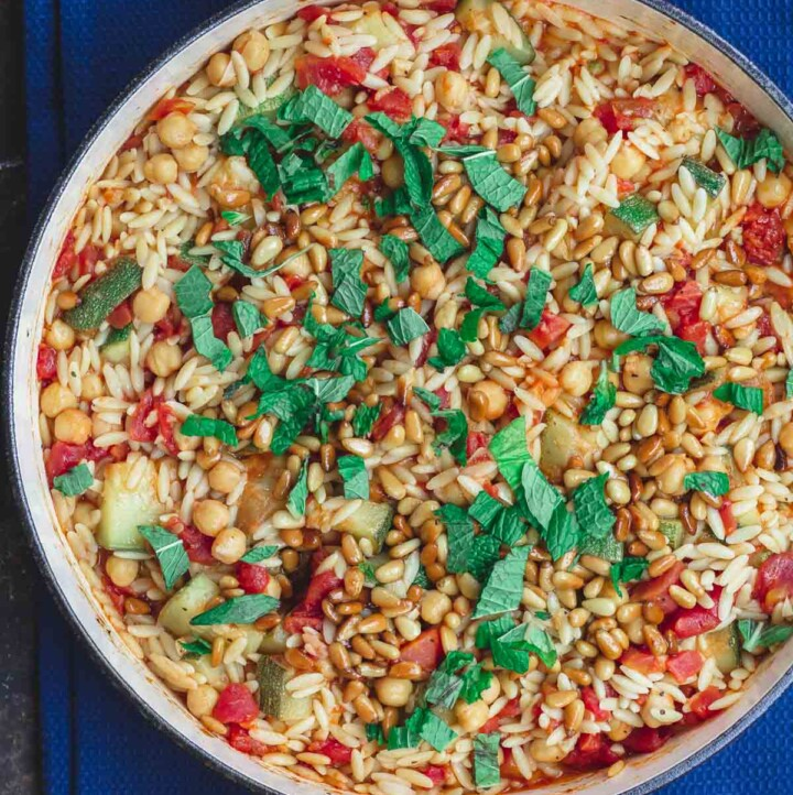 Mediterranean Orzo Recipe with Zucchini and Chickpeas