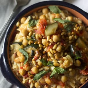 Orzo Recipe with Zucchini and Chick Peas