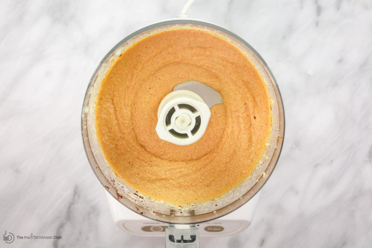 Roasted red pepper hummus blended in food processor
