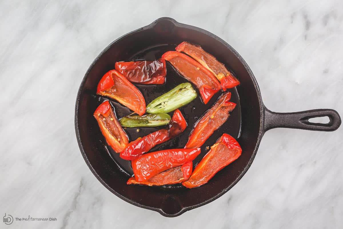 Red peppers and jalapeno roasted in olive oil