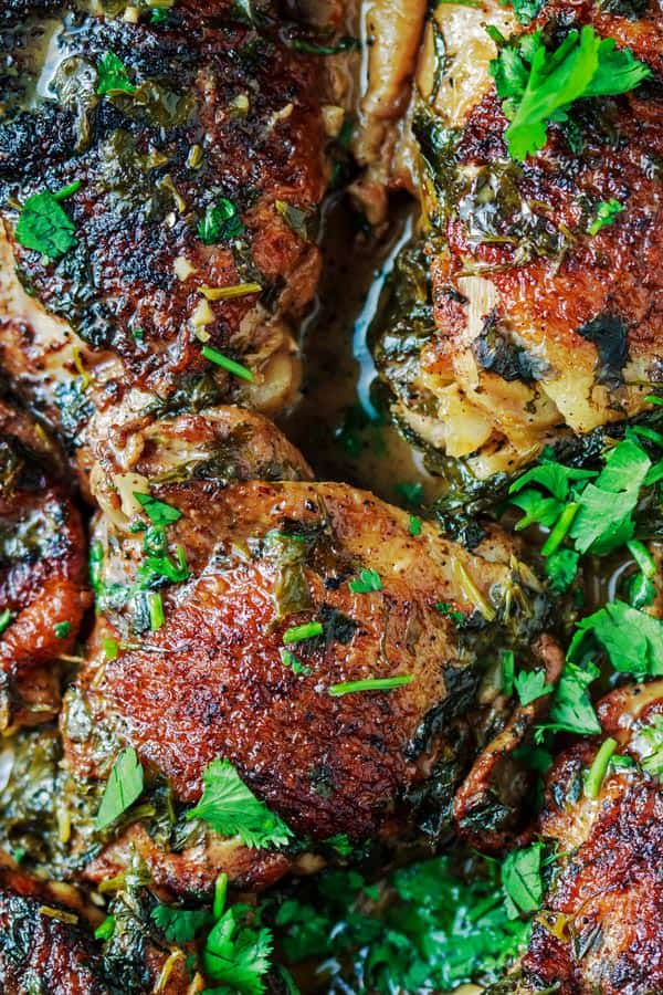 Cilantro-Lime Chicken Thighs Recipe from The Mediterranean Dish. Perfectly flavored fall-off-the bone tender! This chicken recipe has quickly become a family favorite! Recipe comes with step-by-step photos.