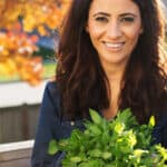 Suzy Karadsheh from The Mediterranean Dish with freshly picked spearmint