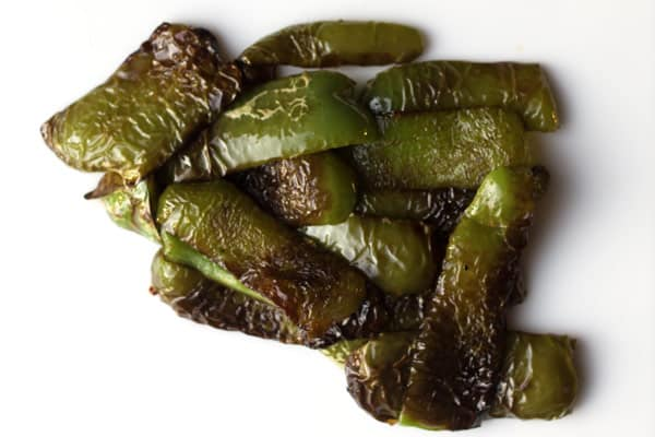 Green peppers after being fried