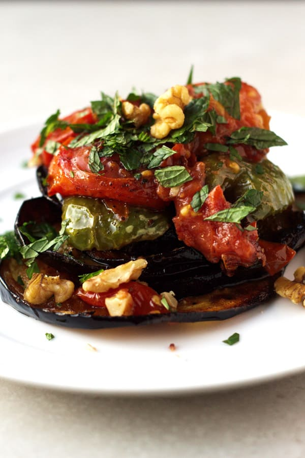 Fried Eggplant with Green Peppers and Tomatoes