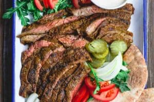 Grilled Beef Shawarma Recipe   The Mediterranean Dish. Learn how to make homemade beef shawarma and mix your own shawarma spices. This easy shawarma recipe from themediterraneandish.com will become a regular! And we show you what to serve along! #shawarma #beefshawarma #mediterraneanrecipes #mediterraneandiet #middleeasternfood