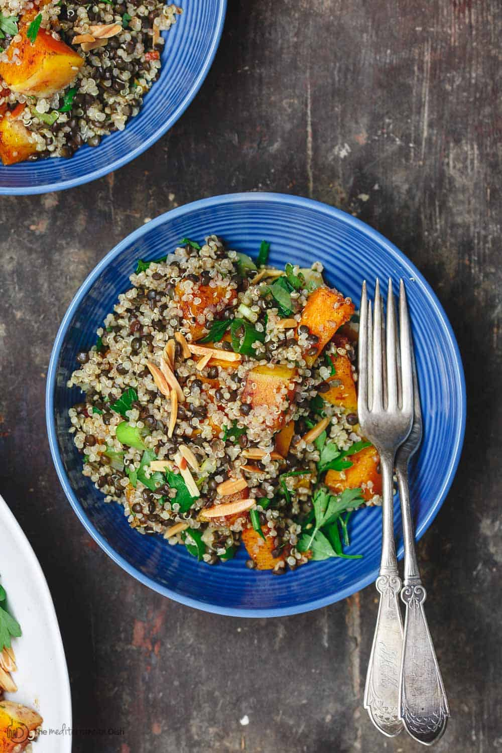 Easy Roasted Butternut Squash Recipe with lentils and quinoa. This makes a great lunch bowl, topped with toasted almonds