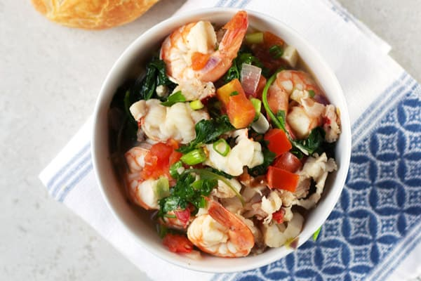 Serving of seafood stew in a bowl