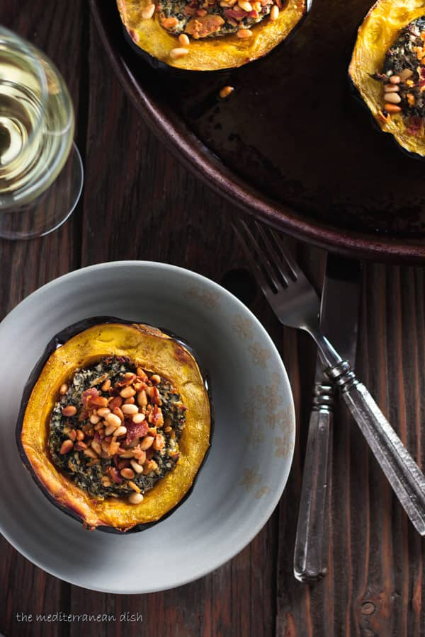Stuffed Acorn Squash Recipe With Spinach Cheese And Pancetta The Mediterranean Dish