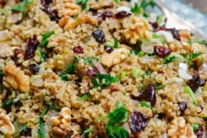 Freekeh with cranberries, apples, Mediterranean spices and fresh herbs