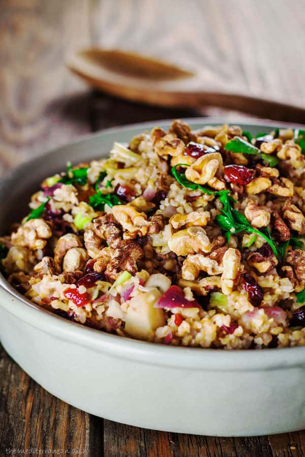 Mediterranean Style Thanksgiving Recipes | The Mediterranean Dish. This easy cranberry apple freekeh stuffing along with other recipes from The Mediterranean Dish, David Lebovitz, Yotam Ottolenghi and more!