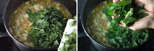 Kale added to the pot of cooking ingredients