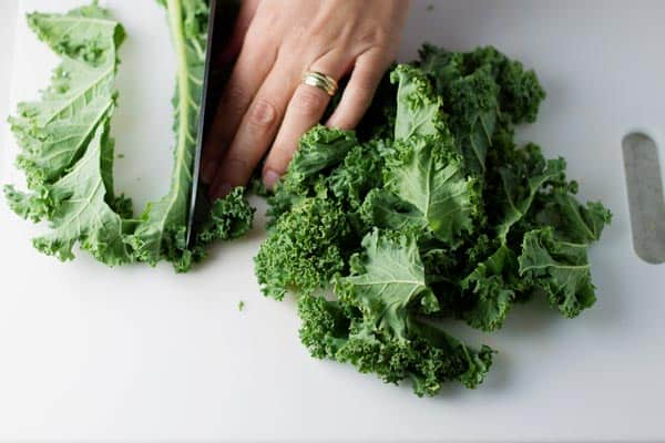 Chopped Kale on cutting board
