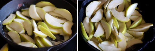 Pear slices cooked briefly to soften
