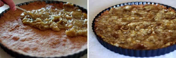 Fig puree transferred to pie crust and spread evenly