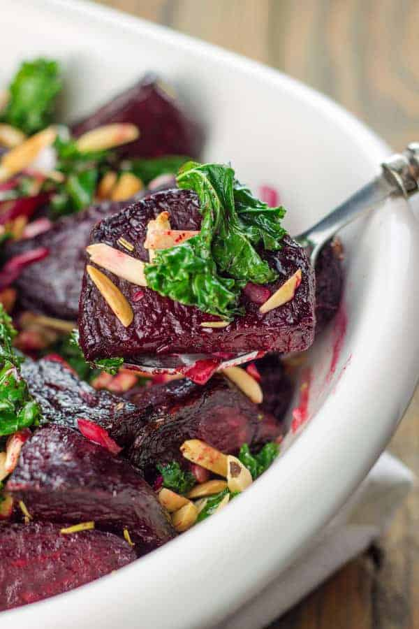 Top 10 Mediterranean Salad Recipes: Roasted Beet Salad Recipe with Kale, Slivered Almonds and a Lemon-Honey Vinaigrette | The Mediterranean Dish