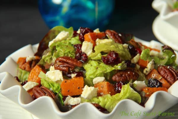 Thanksgiving Recipe for roasted sweet potato salad with honey cumin vinaigrette from The Cafe Sucre Farine