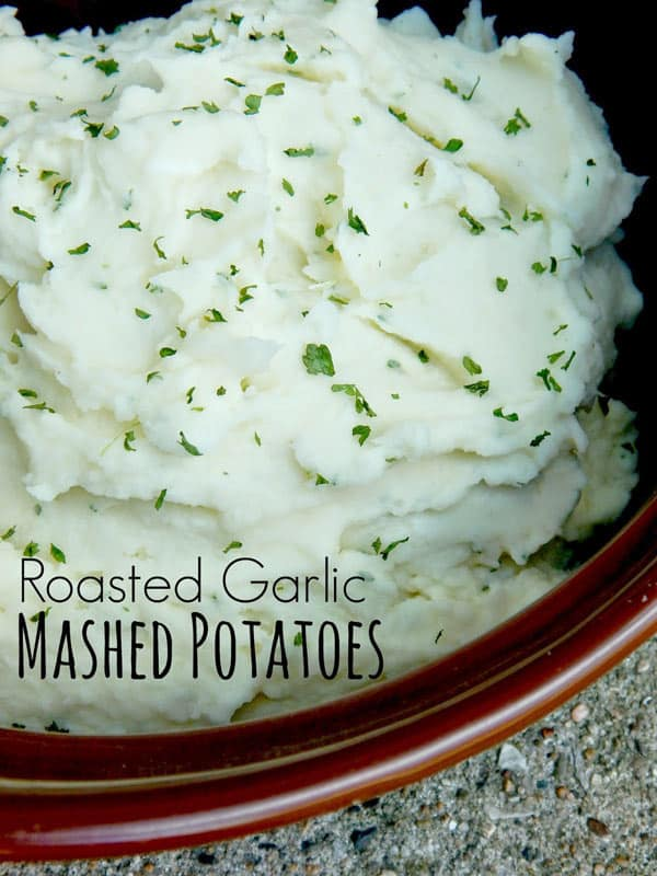 Thanksgiving Recipe for roasted garlic mashed potatoes from Ally's Sweet and Savory Eats