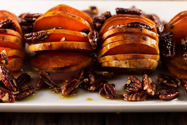 Sweet Potatoes with caramelized pecans and orange glaze ready to be served