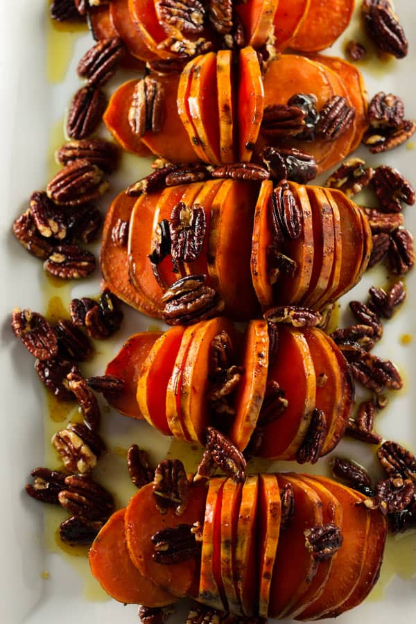 Hasselback Sweet Potato Recipe with Pecans and Orange-Rosemary Glaze