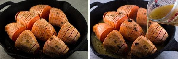 Orange glaze poured over sliced Sweet Potatoes