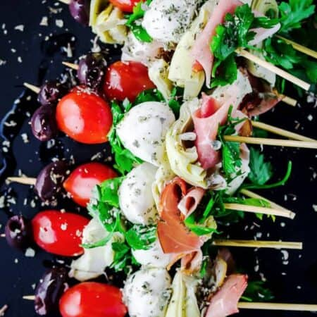 Antipasto skewers with prosciutto, mozzarella, artichokes | The Mediterranean Dish. An easy and impressive party appetizer that comes together in minutes!