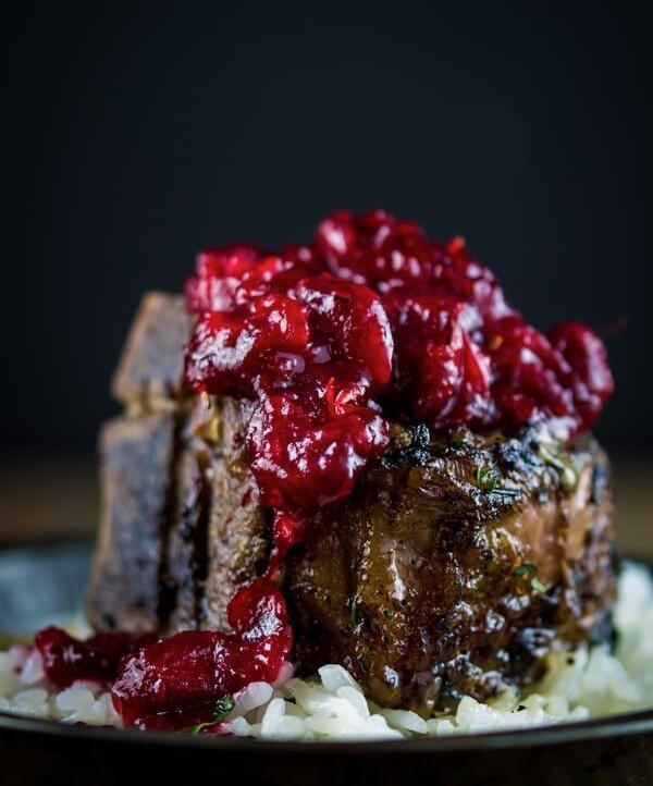 Braised Lamb Chops with Cranberry-Harissa Chutney