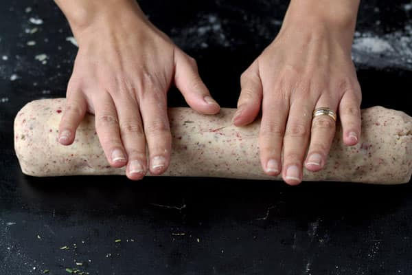 Dough formed into log
