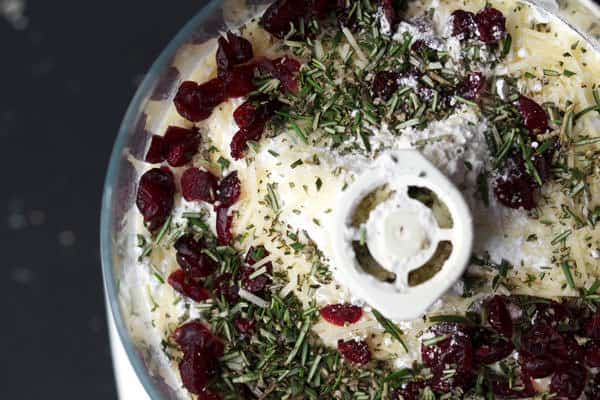 Flour, Parmesan cheese, dried cranberries, rosemary in food processor