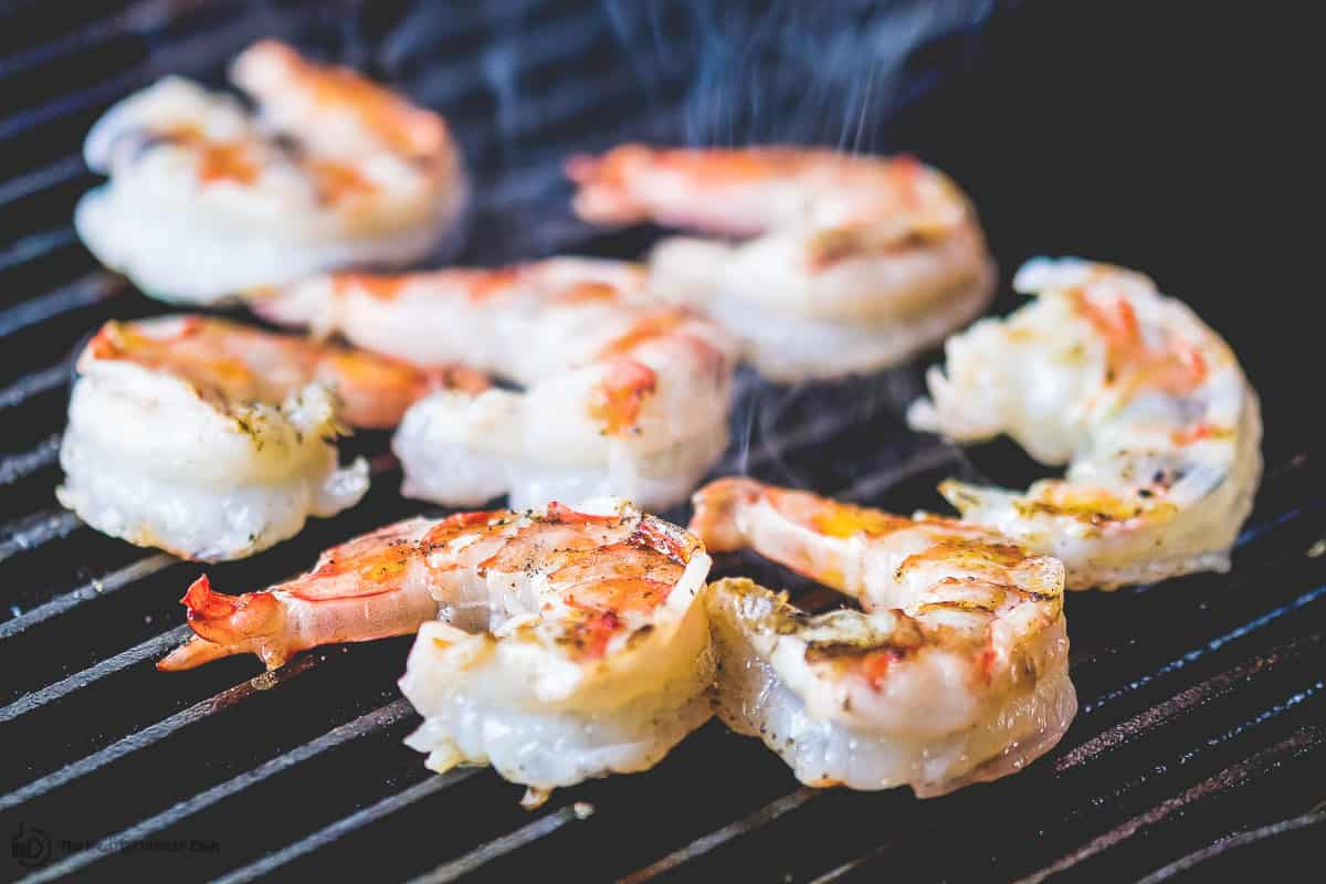 Grilled shrimp on indoor griddle