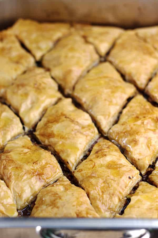 Baked Baklava cut into squares ready to be served