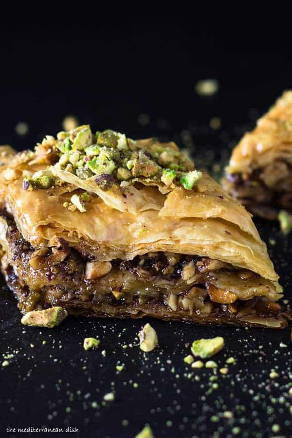 Baklava garnished with pistachios