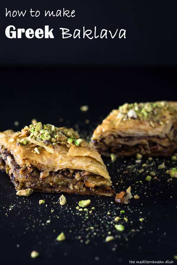 How to Make Baklava | The Mediterranean Dish. Foolproof baklava recipe with video tutorial and step-by-step photos. Perfectly crisp layers of phyllo with pistachios, walnuts and hazelnut, drenched in honey syrup. Amazing Greek baklava recipe. See it on TheMediterraneanDish.com today!