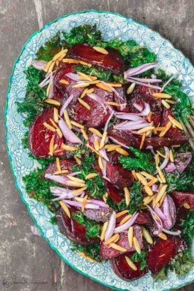 Roasted Beet Salad with Crispy Kale and Almonds (Instant Pot option)