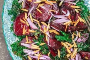 Beet Salad with Crispy Kale, Almonds, Shallots and Lemon-Honey Vinaigrette