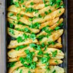 Best Greek Potatoes | The Mediterranean Dish. Greek-style lemon roasted potatoes with garlic and a sprinkle of parmesan cheese. The best roasted potatoes out there from themediterraneandish.com