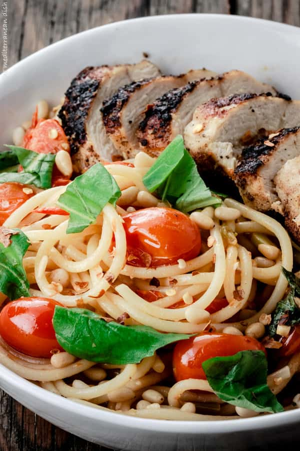 Blackened Chicken and Spaghetti with a wine sauce