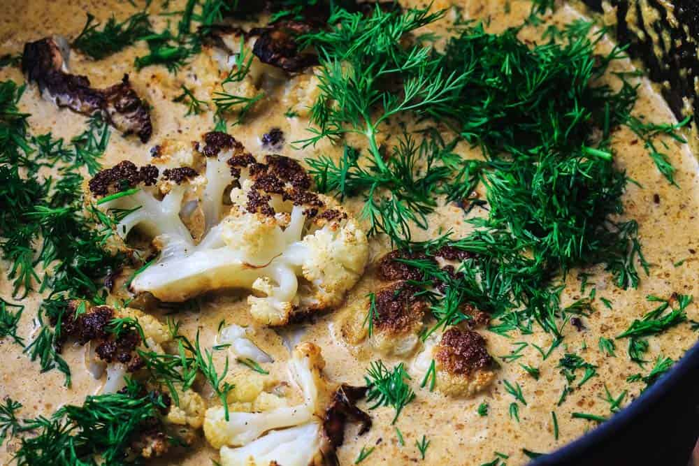 One Pot Cauliflower Soup with Roasted Cauliflower and Fresh Dill added