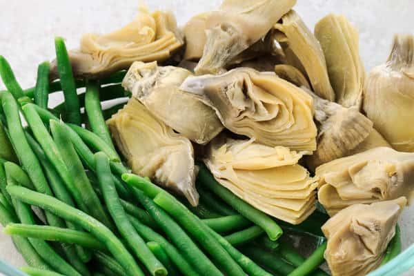 Artichokes and green beans
