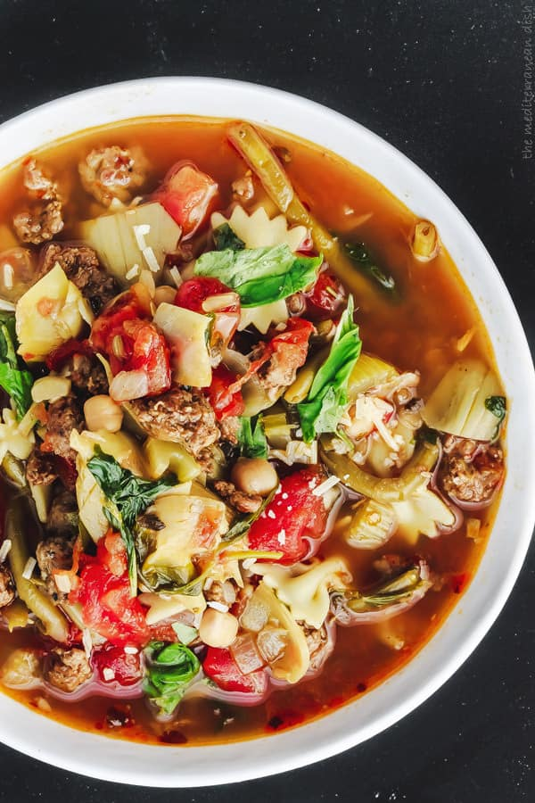 Italian Sausage Minestrone Soup with extra broth