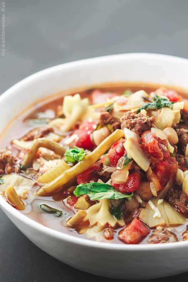 Italian Sausage Minestrone Soup served in a bowl
