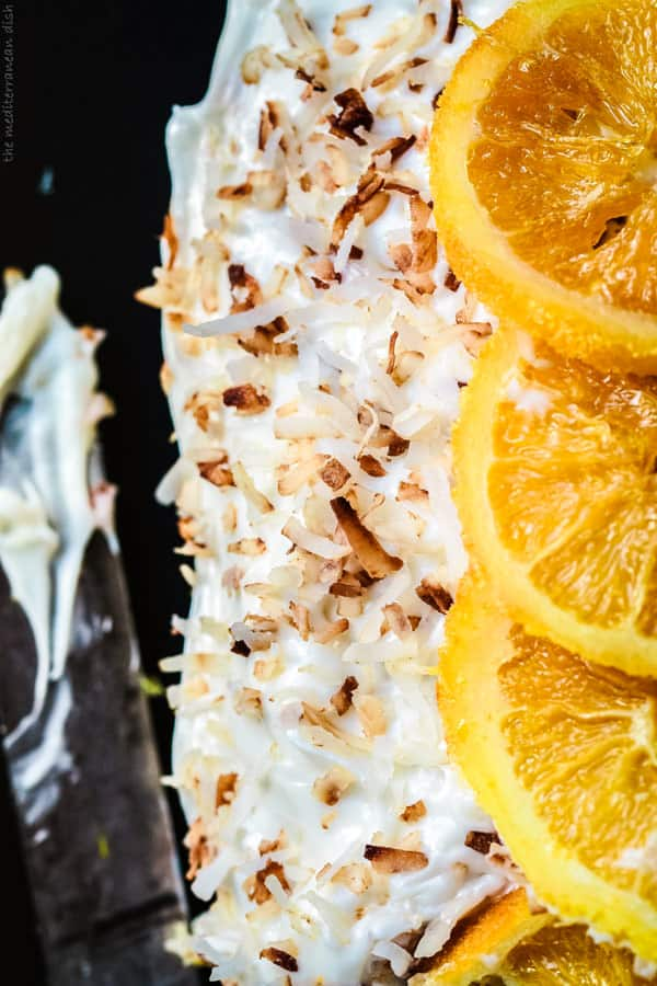 Orange Cake with candied orange slices and toasted coconut