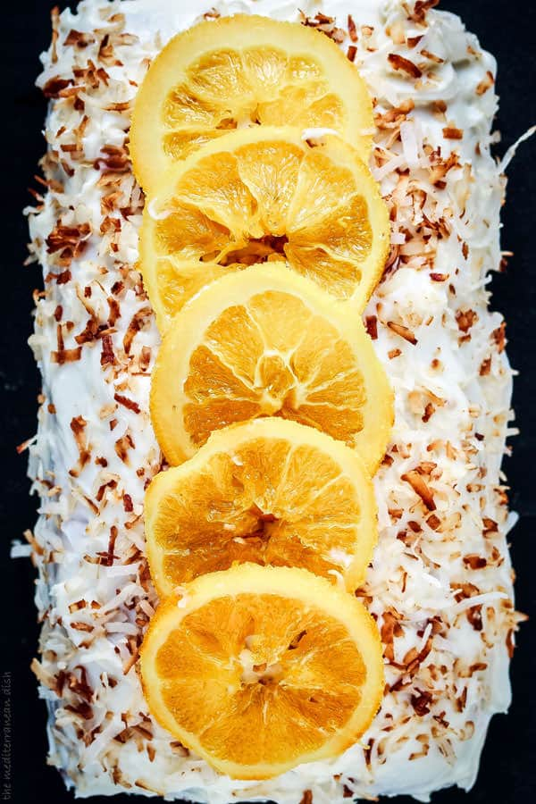 Orange Cake topped with candied orange slices