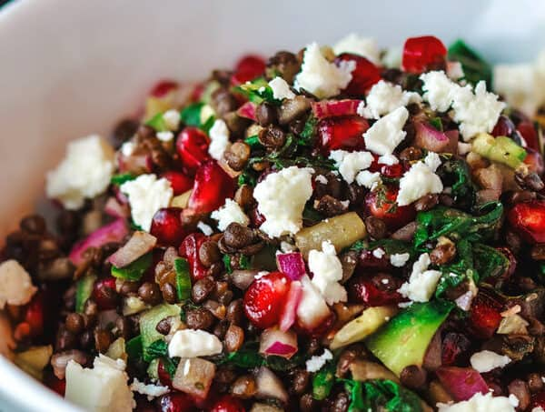 power brown lentil salad recipe with pomegranates and swiss chard